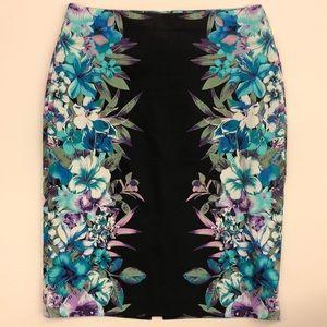 Floral on black Pencil skirt